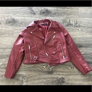 Maroon Zara Pleather jacket size medium!